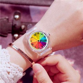 Transparent Clock Silicon Watch Women Sport Casual Quartz Wristwatches Novelty Crystal Ladies Watches Cartoon Reloj Mujer 2018
