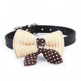 Knit Bowknot Adjustable PU Leather Dog Puppy Pet Collars Necklace Pets Product acessorios #XTT