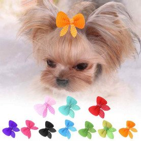 Misterolina 10PCS/LOT Dog Bows Hairpin Hair Clips Pet Hair Accessories Puppy Dogs Cats Cute Grooming Headwear Pets Acessorios