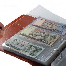 10Pcs Money Banknote Paper Money Album Page Collecting Holder Sleeves 3-slot Loose Leaf Sheet Album Protection New Arrive