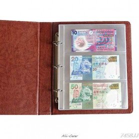 PVC Album Pages 3 Pockets Money Bill Note Currency Holder PVC Collection 180x80mm Albums Folders DropShip