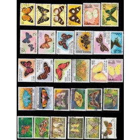 50Pcs/Lot Butterfly All Different From Many Countries NO Repeat Unused Postage Stamps for Collecting